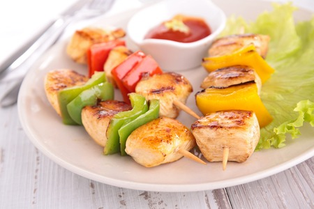 kebob: grilled barbecue chicken