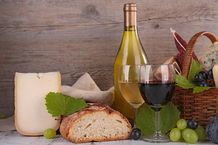 food products: wine,cheese and bread Stock Photo