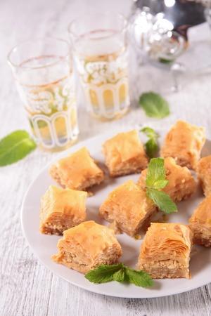 baklava: baklava and tea Stock Photo