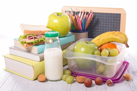 back to school supplies: back to school with supply,sandwich and fruit