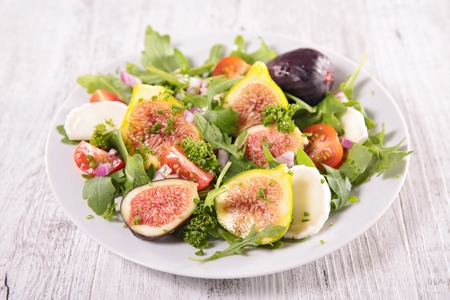 fig: vegetable salad with fresh fig Stock Photo