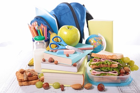 healthy foods: school supplies and healthy foods Stock Photo
