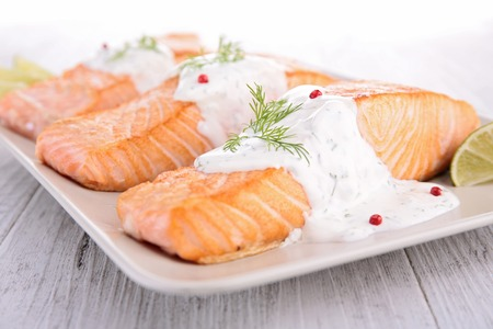 food fish: salmon and dill sauce