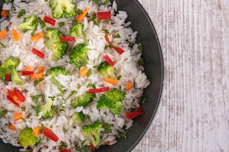 healthy meals: rice with vegetables