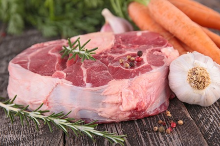 board: raw meat on board