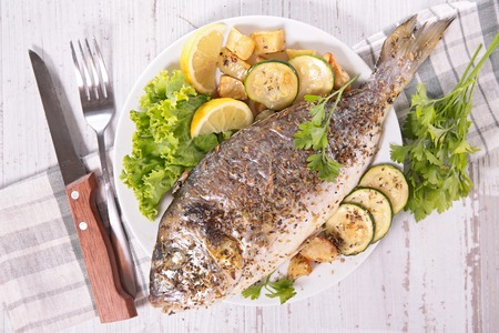 dorado fish: grilled dorado fish Stock Photo