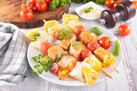 kebob: raw fish kebab Stock Photo