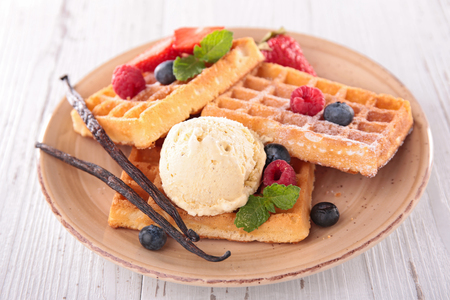 epicure: waffles, berry fruit and ice cream Stock Photo