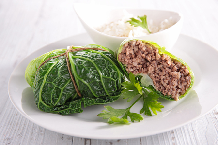 minced beef: cabbage roll with minced beef Stock Photo