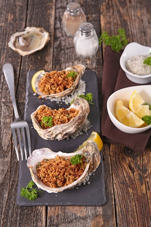 entree: christmas entree, oysters Stock Photo