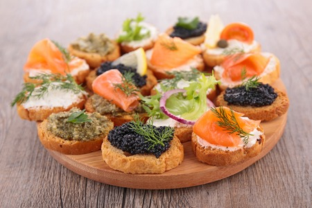 canapes: assorted canapes Stock Photo