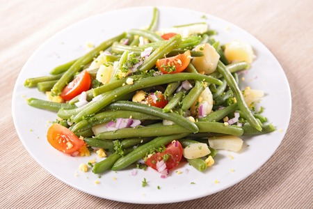 green bean: green bean salad with tomato and egg