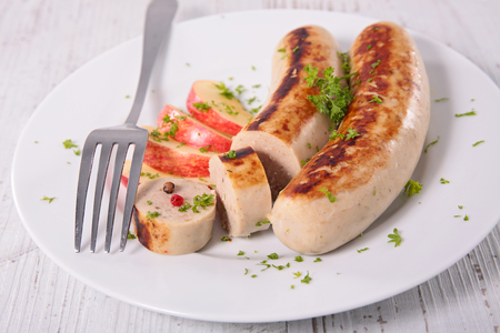 white sausage: grilled white sausage with apple