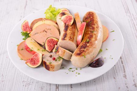 christmas pudding: grilled white pudding and foie gras