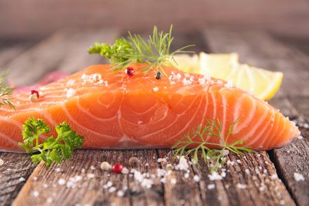 salmon fillet: raw salmon fillet Stock Photo