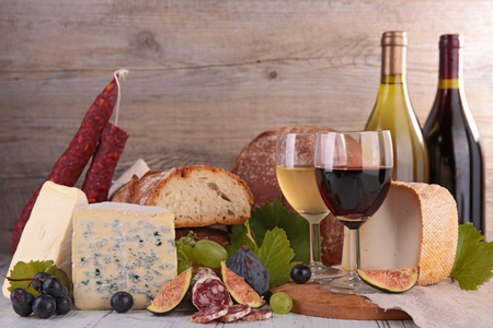 frankfurters: assorted wine,bread and cheese Stock Photo