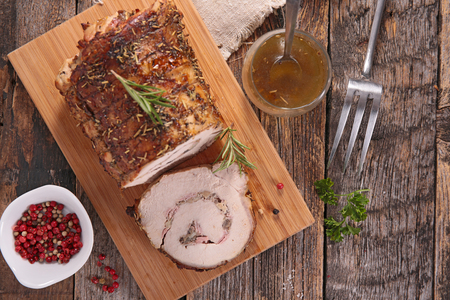 baked meat: roast pork rolled up with mushroom and onion