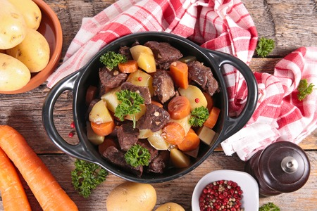 autumn food: beef stew with wine sauce and vegetables