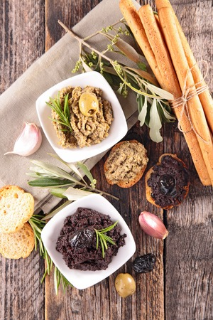 breadstick: canape with tapenade and breadstick Stock Photo