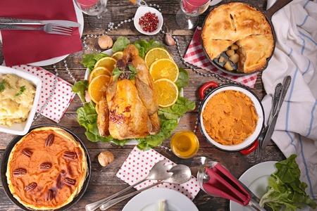 guinea fowl: guinea fowl, apple pie,mashed potato and pumpkin pie