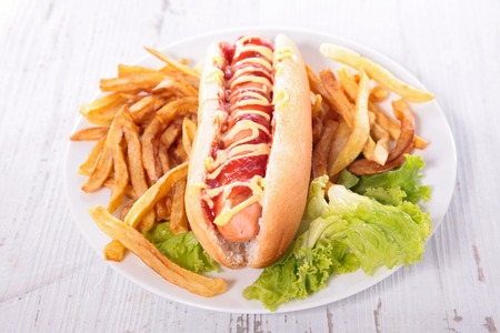 hot dog: hot dog and french fries