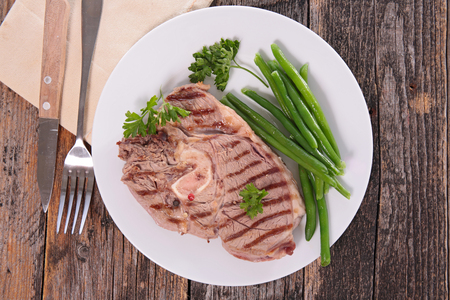 green bean: lamb meat grilled and green bean