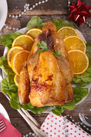 fowl: guinea fowl cooked with orange Stock Photo