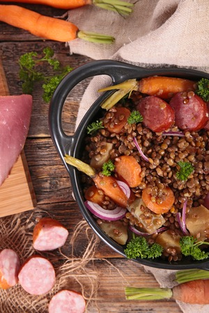 epicure: lentils,meat and carrot Stock Photo