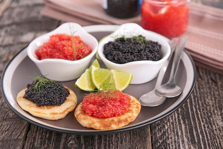 blini: canape, caviar and blini