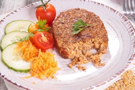 vegetarian hamburger: Vegetarian patties, vegan burger and salad Stock Photo