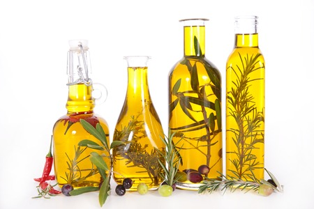 cooking oil: cooking oil, olive oil Stock Photo