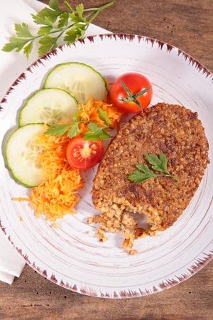 vegetarian hamburger: bulgur like steak and vegetable