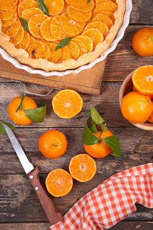 clementine: homemade clementine tart and fruits