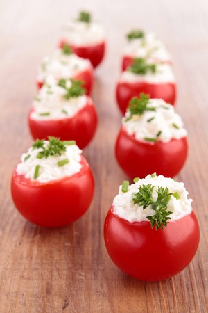 finger food: finger food, tomato and cheese cream