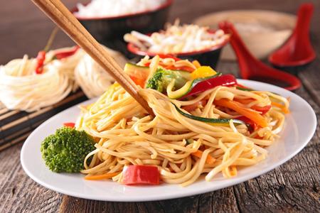 fried noodles and vegetables