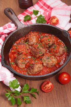 meat sauce: meatballs and tomato sauce Stock Photo