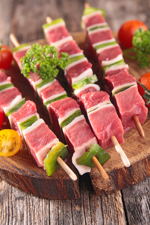 kebob: barbecue,raw meat