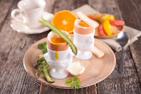 boiled egg: soft boiled egg and asparagus Stock Photo