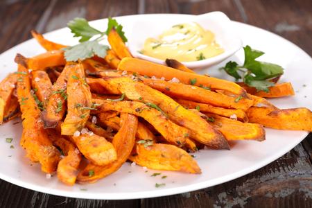 fried food: french fries sweet potato