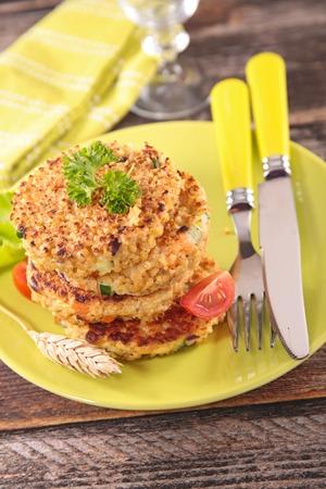 vegetarian hamburger: quinoa galette, vegan burger Stock Photo
