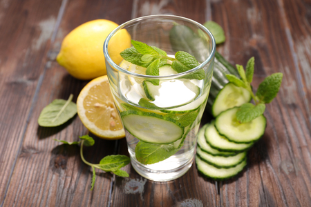 lemon water: cucumber and lemon water