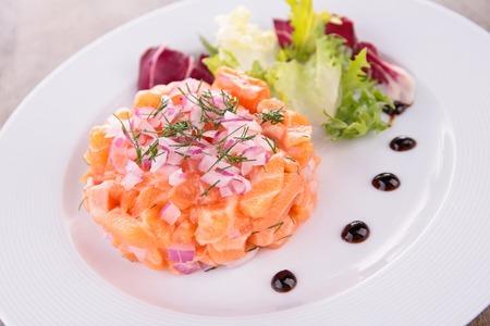 salmon tartar Stock Photo