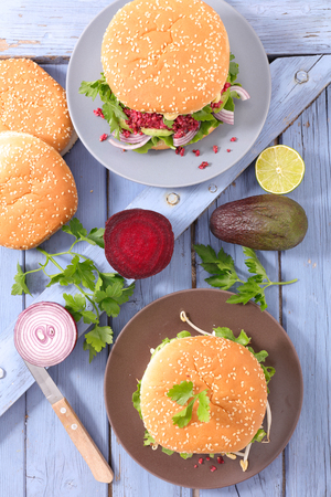 vegetarian hamburger: veggie burger Stock Photo