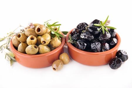 green and black olives Banque d'images