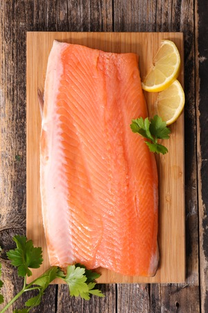 epicure: raw salmon fillet Stock Photo