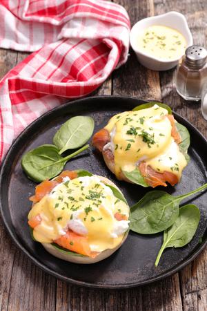 benedict: egg benedict with smoked salmon Stock Photo