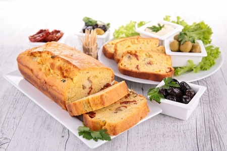 loaf: cheese loaf with olives Stock Photo