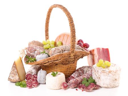 盛り合わせ肉とチーズ 写真素材