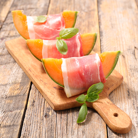 prosciutto and melon on board