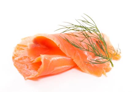 salmon ahumado: salmón ahumado aislado en blanco Foto de archivo
